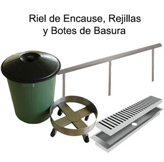 RIEL DE ENCAUSE, REJILLA Y BOTES DE BASURA